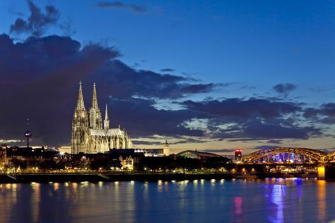 Germany, North Rhine-Westphalia, Cologne, Rhine Shore, Cathedral, Evening Photographic Print