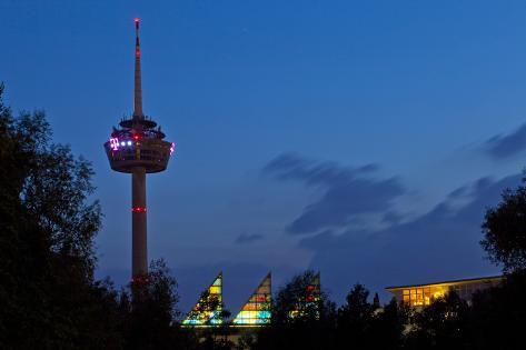 Germany, North Rhine-Westphalia, Cologne, Television Tower, Evening Photographic Print