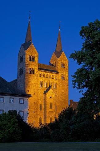 Germany, Weser Hills, North Rhine-Westphalia, Hšxter, Castle Corvey, Abbey Church, Evening Photographic Print