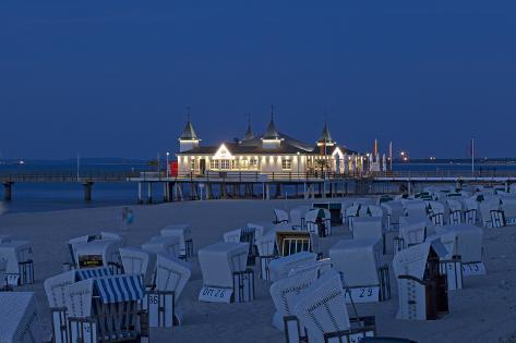 Germany, Western Pomerania, Island Usedom, Seaside Resort Ahlbeck, Pier, Evening Photographic Print