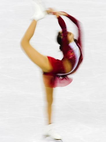 Blurred Action of Woman Figure Skater, Torino, Italy Photographic Print