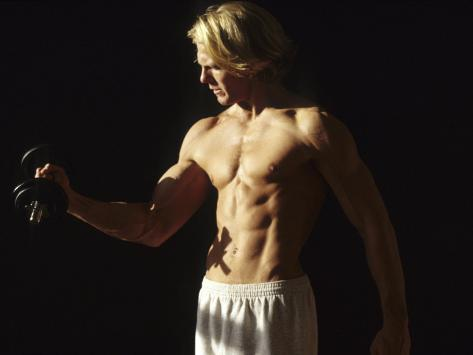 Man Working Out with Hand Wieghts, New York, New York, USA Photographic Print