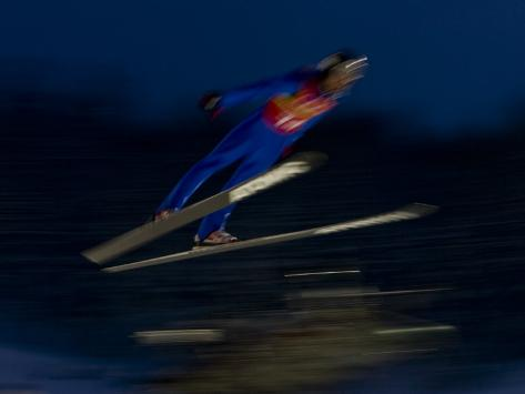 Ski Jumper in Action, Torino, Italy Photographic Print