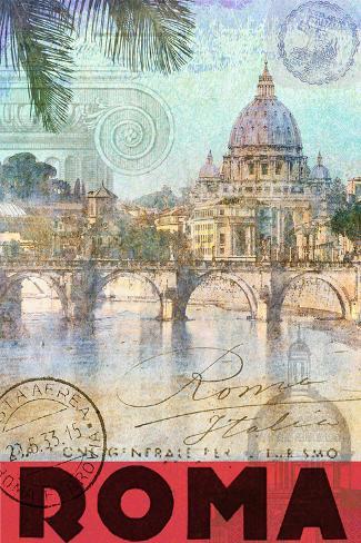 Rome, Saint Peter, Tiber River Stretched Canvas Print