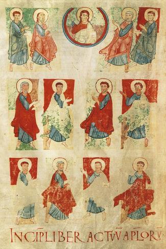 Christ and the Twelve Apostles, Miniature from the Atlantic Bible, Manuscript 11th Century Lámina giclée