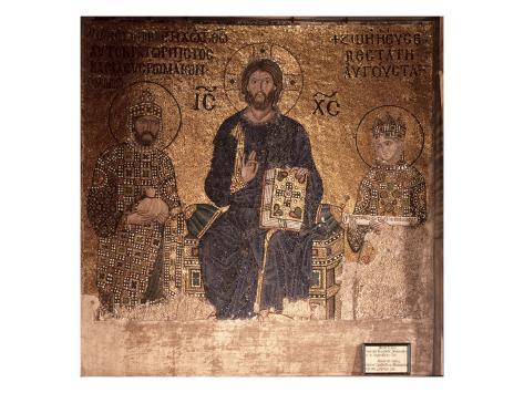Christ Enthroned with Constantine XI and Empress Zoe Lámina giclée