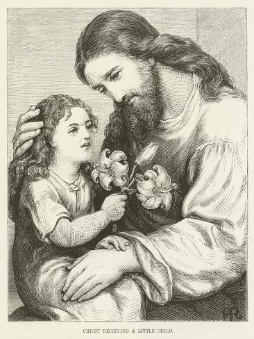 Christ Receiving a Child Stampa giclée