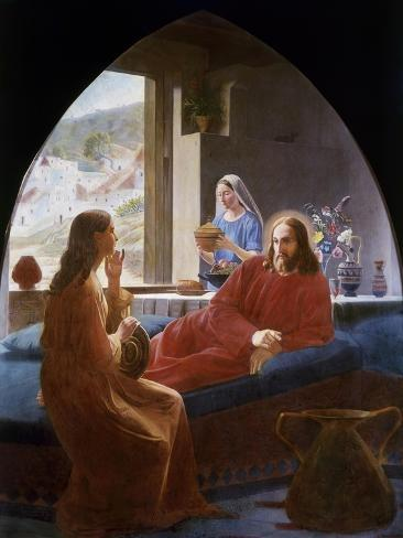 Jesus with Mary and Martha Giclee Print