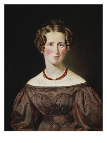Portrait of Marie Wilhelmine Jensen, Nee Visby Stretched Canvas Print