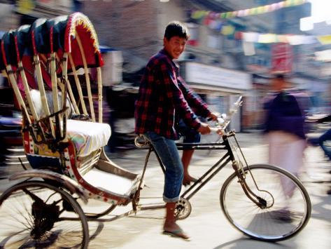 Cycle Rickshaw on Street, Kathmandu, Nepal Photographic Print