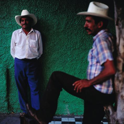 Men Standing in Street, Tequila, Mexico Photographic Print