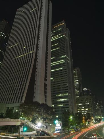 Car Trails at Night, Skyscrapers and City Buildings, Shinjuku, Tokyo, Japan Photographic Print