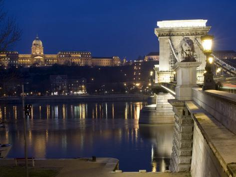 Chain Bridge Over the River Danube, Embankment Buildings, Budapest, Hungary, Europe Photographic Print
