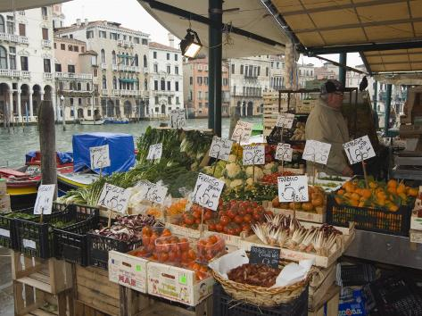 Fruit and Vegetable Stall at Canal Side Market, Venice, Veneto, Italy Photographic Print