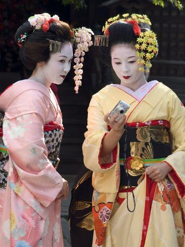 Geisha, Maiko (Trainee Geisha) in Gion, Kyoto City, Honshu, Japan Photographic Print