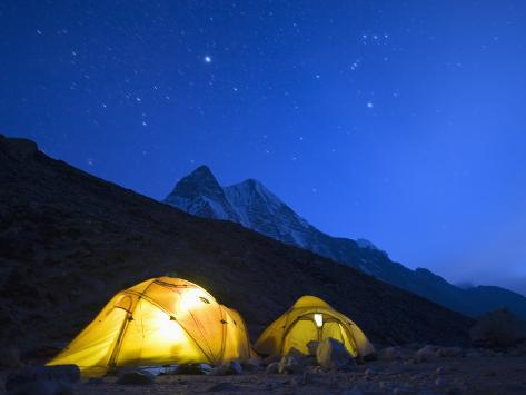 Illuminated Tents at Island Peak Base Camp, Sagarmatha National Park, Himalayas Photographic Print