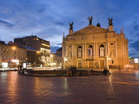 Ivan Franco Opera and Ballet Theatre, Old Town, Lviv, Unesco World Heritage Site, Ukraine, Europe Photographic Print
