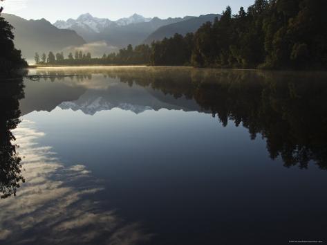 Lake Matheson in the Evening Reflecting Mount Tasman and Aoraki, South Island, New Zealand Photographic Print