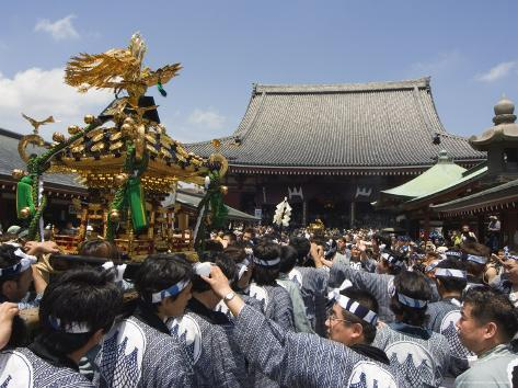 Mikoshi Portable Shrine of the Gods Parade and Crowds of People, Tokyo, Japan Photographic Print