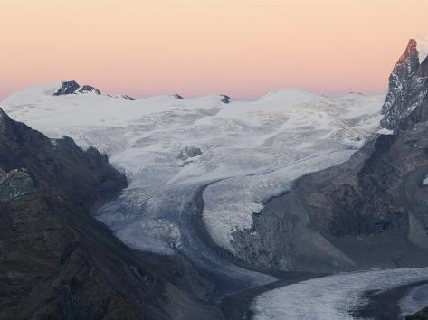 Monte Rosa Glacier at Dusk, Zermatt Alpine Resort, Valais, Switzerland Photographic Print