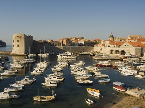 Old Town Waterfront Harbour Area and City Walls, Dubrovnik, Croatia, Adriatic Photographic Print
