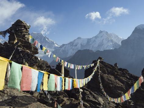 Prayer Flags, View From Gokyo Ri, 5483M, Gokyo, Sagarmatha National Park, Himalayas Photographic Print
