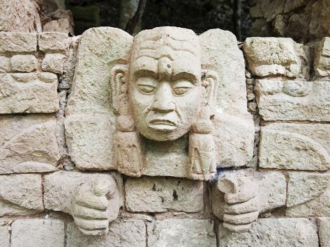 Sculpted Head Stone at Mayan Archeological Site, Copan Ruins, UNESCO World Heritage Site, Honduras Photographic Print
