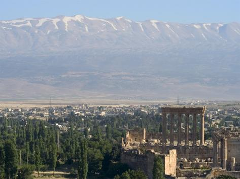 Snow Capped Mountains of the Anti-Lebanon Range Behind the Roman Archaeological Site, Lebanon Photographic Print