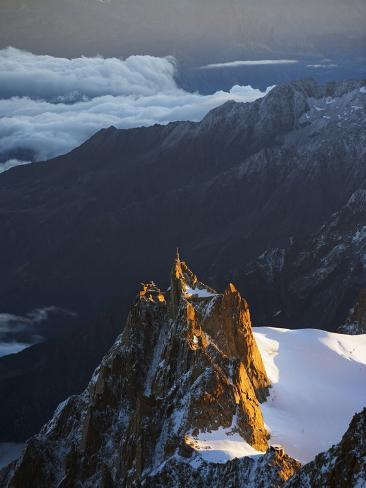 Sunrise on Aiguille Du Midi Cable Car Station, Mont Blanc Range, Chamonix, French Alps, France Photographic Print