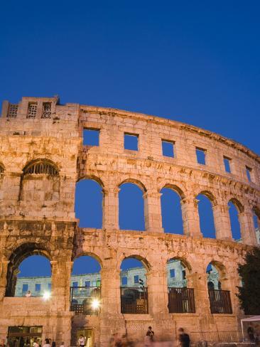 The 1st Century Roman Amphitheatre Bathed in Early Evening Light, Pula, Istria Coast, Croatia Photographic Print