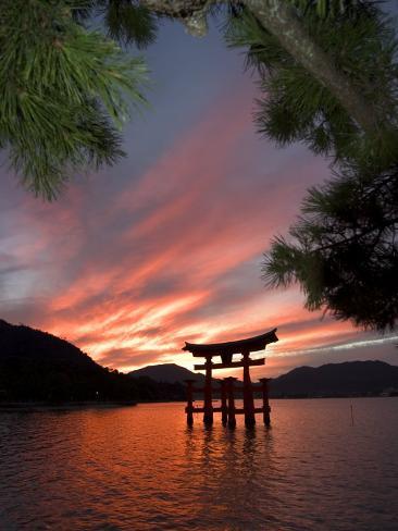 Torii Shrine Gate in the Sea, Miyajima Island, Honshu, Japan Photographic Print