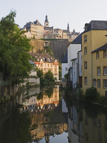 Town Houses Reflected in Canal, Grund District, Luxembourg City, Grand Duchy of Luxembourg Photographic Print