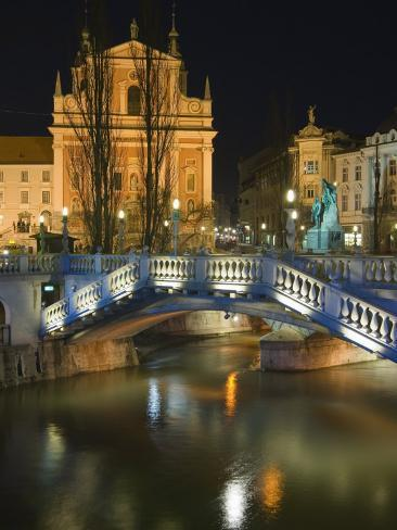 Tromstovje Triple Bridge Over the River Ljubljanica, Slovenia, Eastern Europe Photographic Print
