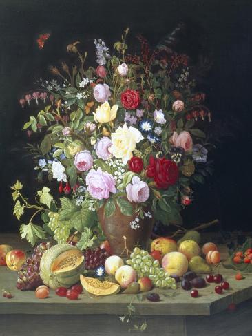 Still Life of Flowers and Fruit Giclee Print