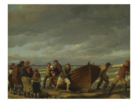 Fishermen from Hornbaek Stretched Canvas Print