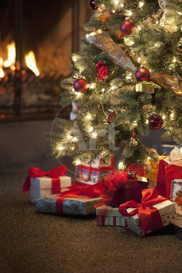 christmas tree by fireplace photographic print at allposterscom