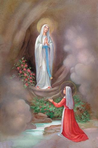 Lady of Lourdes Bernadette Lámina giclée