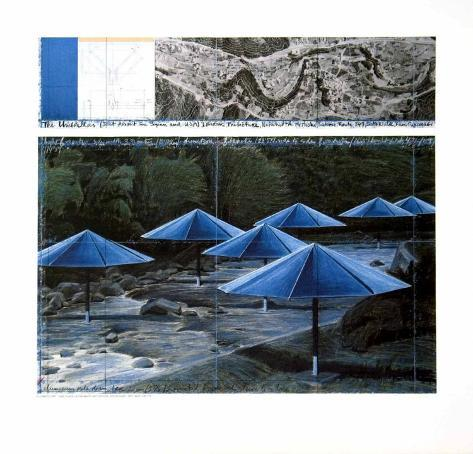 The Blue Umbrellas, 1991 Art Print