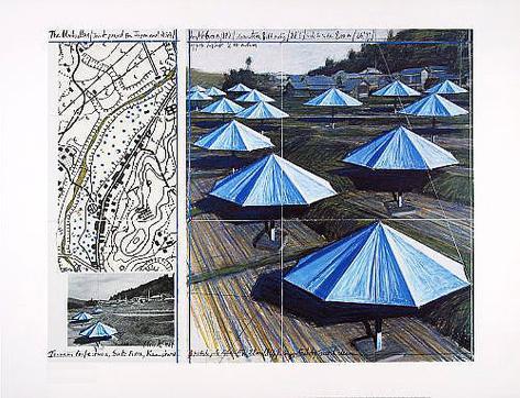 The Blue Umbrellas II Art Print