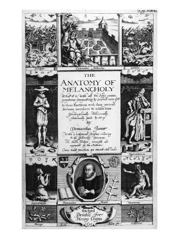 Title-Page to \'The Anatomy of Melancholy\' by Robert Burton, 1628 ...
