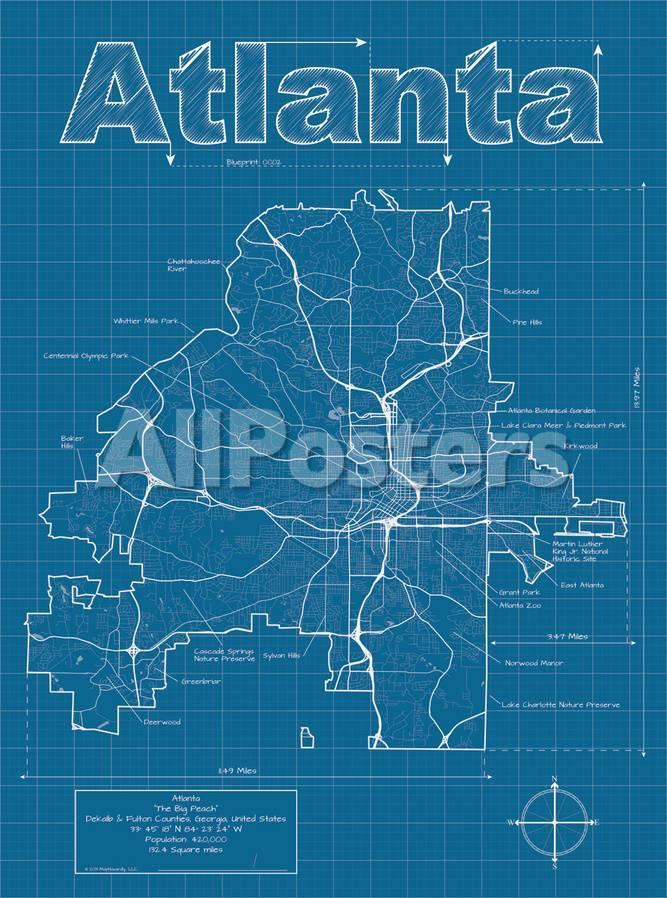 Atlanta Artistic Blueprint Map Poster By Christopher Estes At - Us map blueprint