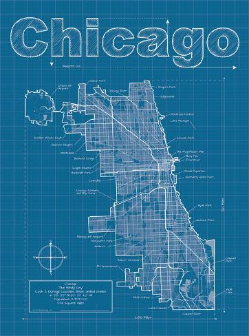 chicago artistic blueprint map print by christopher estes at