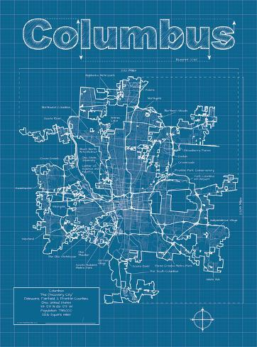 columbus artistic blueprint map art by christopher estes allposters ca