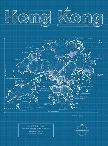 Hong kong artistic blueprint map posters by christopher estes at hong kong artistic blueprint map malvernweather Choice Image