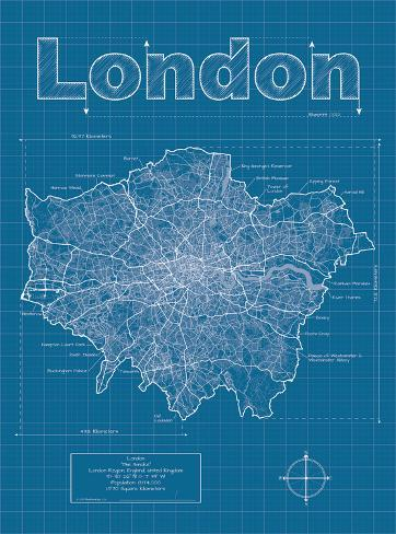 London artistic blueprint map posters by christopher estes london artistic blueprint map malvernweather Images