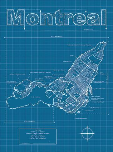Montreal artistic blueprint map posters by christopher estes montreal artistic blueprint map malvernweather Choice Image