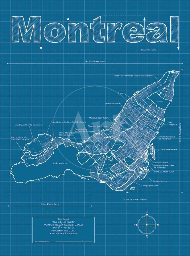 Montreal artistic blueprint map posters by christopher estes privacy preference centre malvernweather Image collections