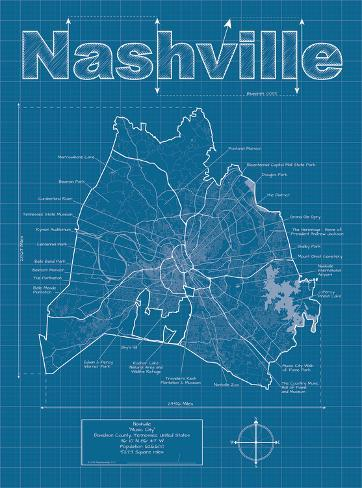 nashville artistic blueprint map prints by christopher estes at