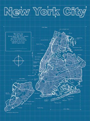 New york city artistic blueprint map poster by christopher estes new york city artistic blueprint map malvernweather Gallery