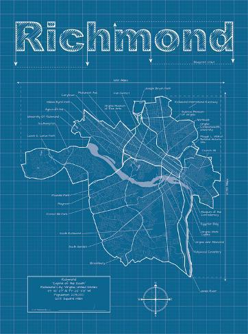 Richmond artistic blueprint map prints by christopher estes richmond artistic blueprint map malvernweather Images